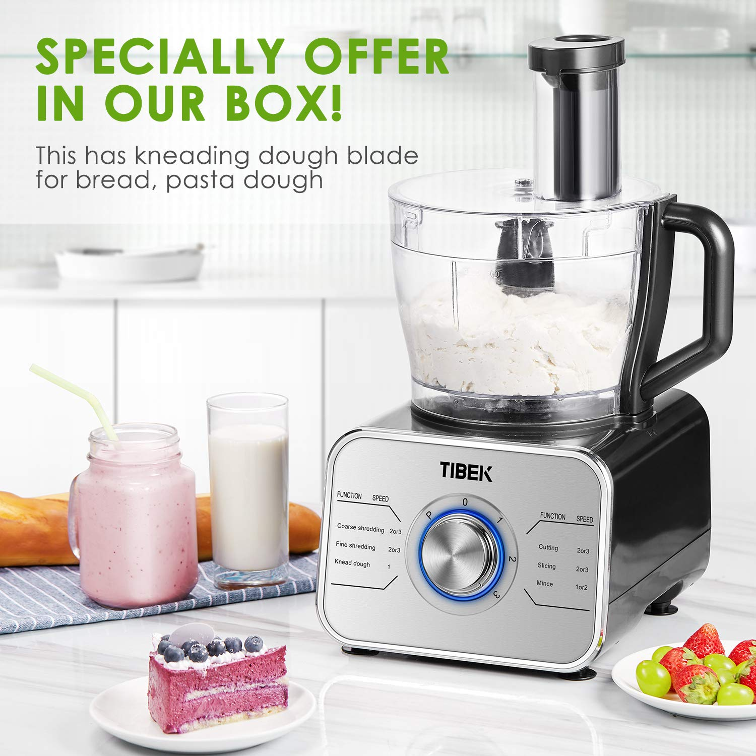 Food Processor 12-Cup, Multi-Function Food Processor 6 Main Functions with Chopper Blade, Dough Blade, Shredder, Slicing Attachments, 3 Speed 600W Powerful Processor, Silver by Tibek (Image #5)