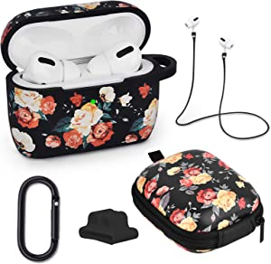 AIRSPO AirPods Pro Case Silicone Protective Case Cover for Apple AirPods Pro Charging Case 5 in 1 airpods pro Accessories with Storage Box, Keychain, Anti-Lost Strap (Black Rose)