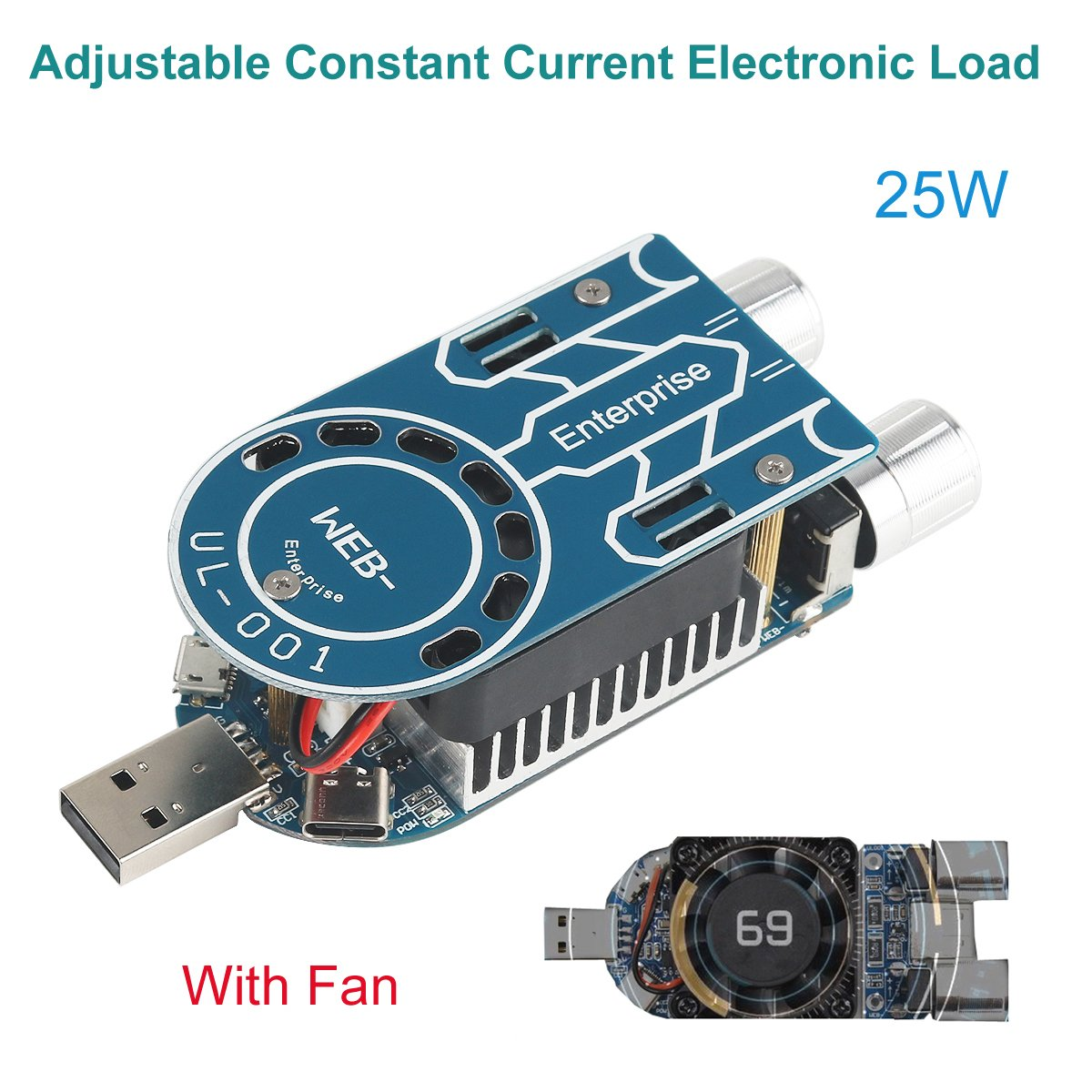 USB Load Tester Resistor 25W Electronic Load Tester Adjustable Constant Current Load Tester USB Resistance Battery Discharge Aging Discharger Tester Line Detector Module With Cooling Fan (25W)