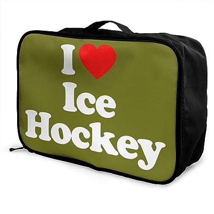 1256899b8eb7 Amazon.com: customgogo Love Ice Hockey Heart Travel Luggage Tote ...