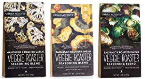 Urban Accents All Natural Gluten Free Veggie Roaster Vegetable Seasoning 3 Flavor Variety Bundle: (1) Urban Accents Balsamic & Roasted Onion Veggie Roaster, (1) Urban Accents Parmesan Mediterranean Veggie Roaster, and (1) Urban Accents Manchego & Roasted Garlic Veggie Roaster, 1.25-1.75 Oz. Ea.