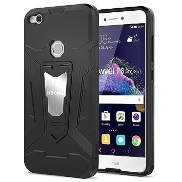 HOOMIL Negro Armor Funda para Huawei P8 Lite 2017 Carcasa Shock-Absorción Silicona Case - Negro (H3198)