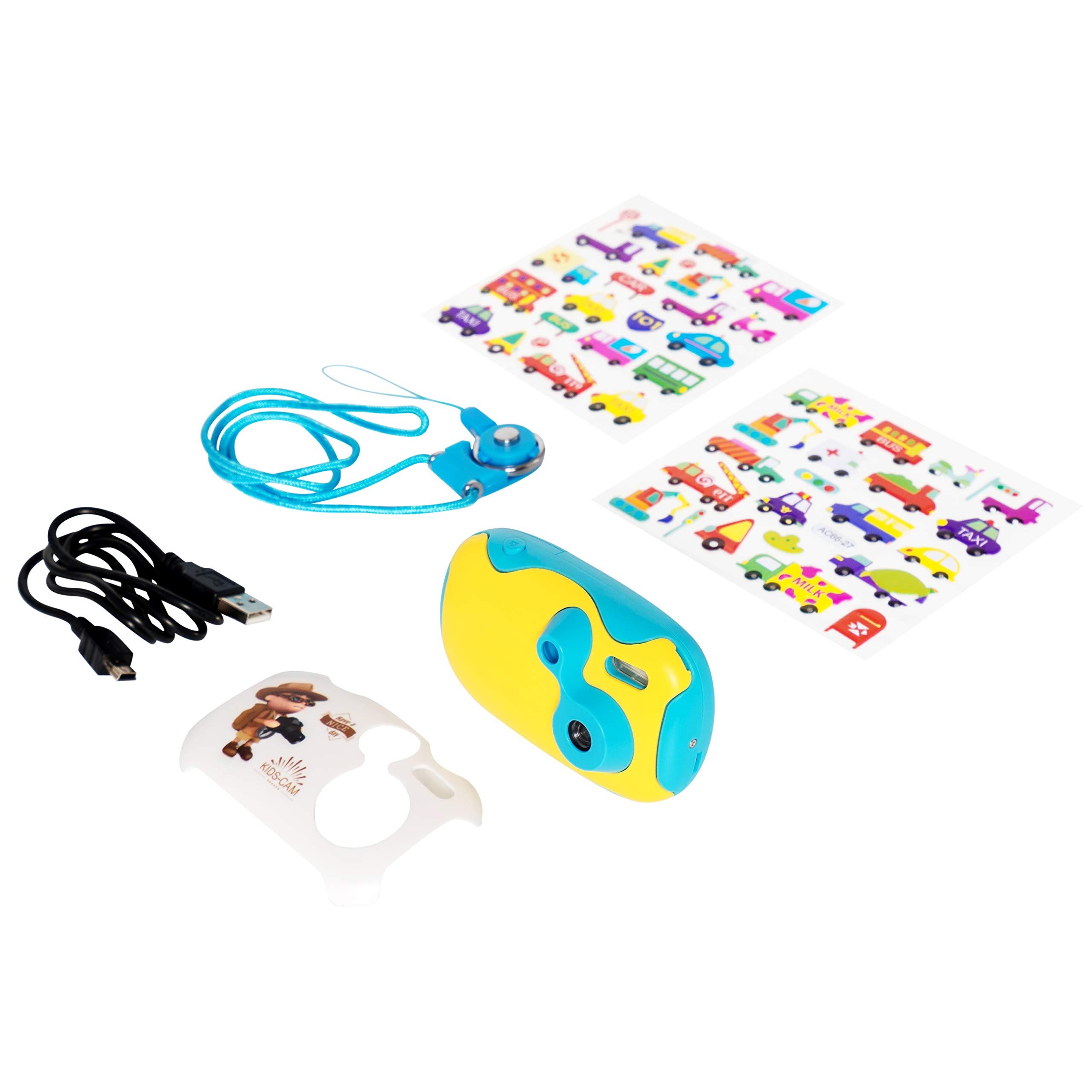 AMKOV DF-03 Toy Camera for Kids, Mini 1.44 inch HD Display Children Camera, Blue
