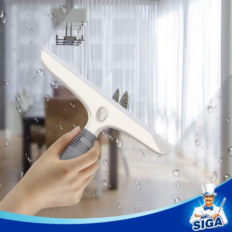 MR.SIGA Mehrzweck-Anzieher f/ür Fenster Saughaken inklusive Auto Hochleistungs-Fensterw/äscher Glas 10 Inch Wei/ß /& Grau Duscht/ür