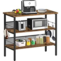 """BEEWOOT Kitchen Island, Coffee Bar, Kitchen Shelf with Large Workstation, Kitchen Bakers Rack with 8 Hooks, 39.4 """"L × 17…"""