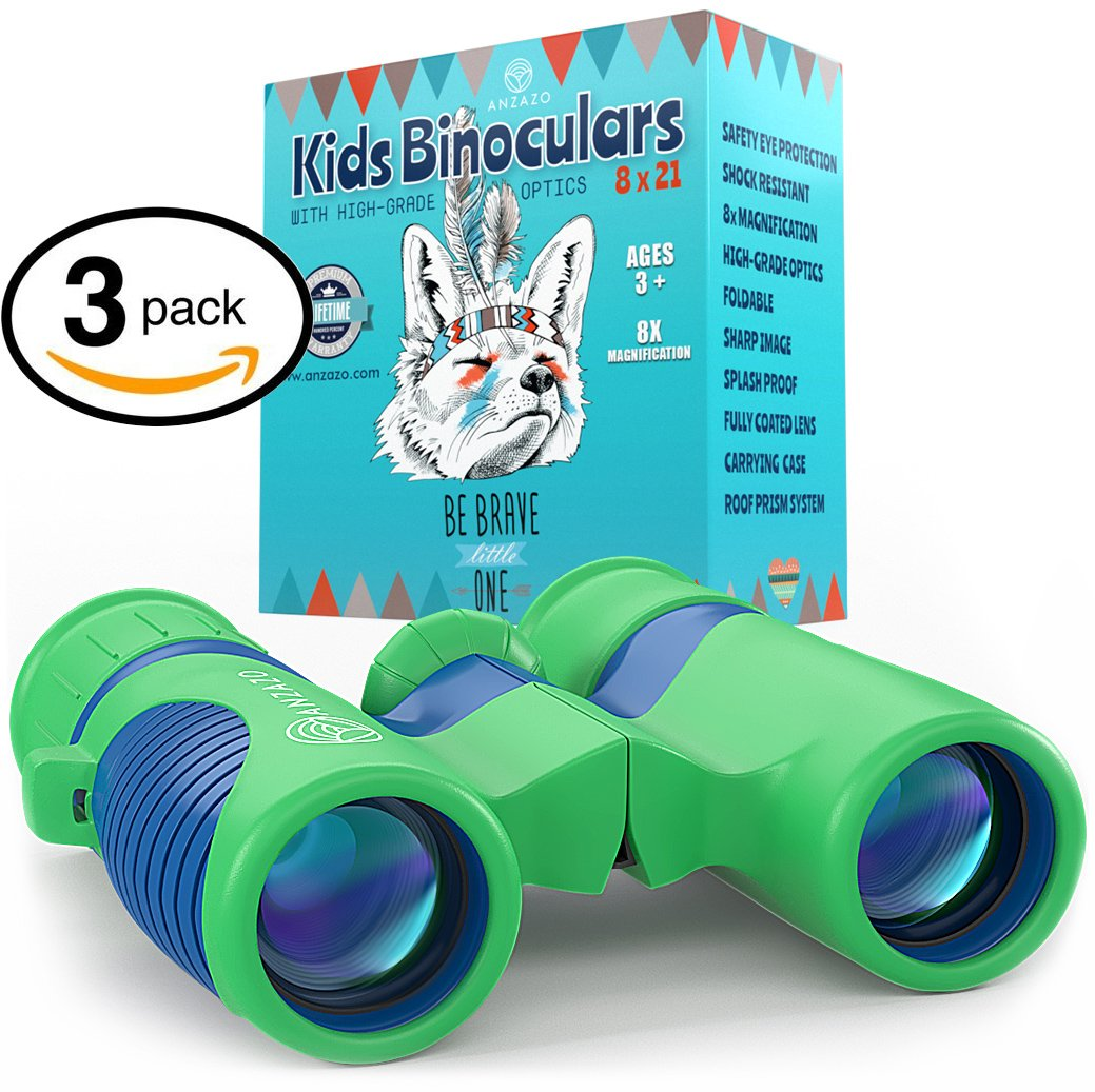 3 PACK - Binoculars for Kids 8x21 by Anzazo - Shock Proof Compact Binoculars Toy for Boys and Girls With High-resolution Real Optics - Best for Bird Watching, Travel, Safari, Adventure, Outdoor Fun