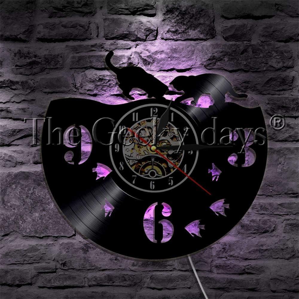 FDGFDG Pareja Cat and Fish Vinyl Record Reloj de Pared con retroiluminación LED Decoración para el hogar Cat Wall Watch LED Lámpara Colgante