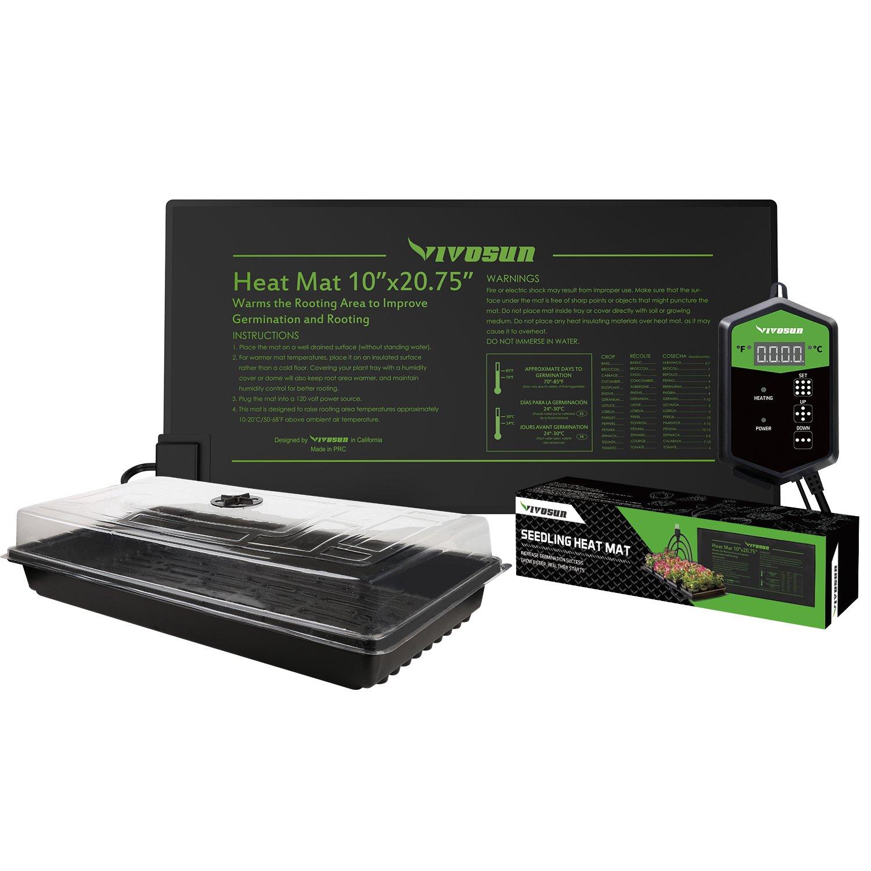VIVOSUN 10''x 20.75'' Germination Kits with Seedling Heat Mat and Digital Thermostat MET Standard by VIVOSUN
