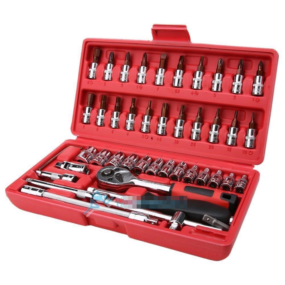 46pcs Screwdriver Sockets 1/4'' DR Auto Car Repair Tool Ratchet Wrench Set Kit