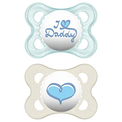 MAM Love & Affection Orthodontic Pacifier, I Love Daddy, Boy, 0-6 ...