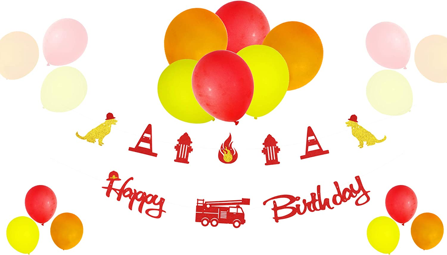 KAPOKKU Fire Truck Happy Birthday Party Banner Balloon Decor Set Glitter Cardboard Fire tools Party Supplies Firefighter Cake Decoration