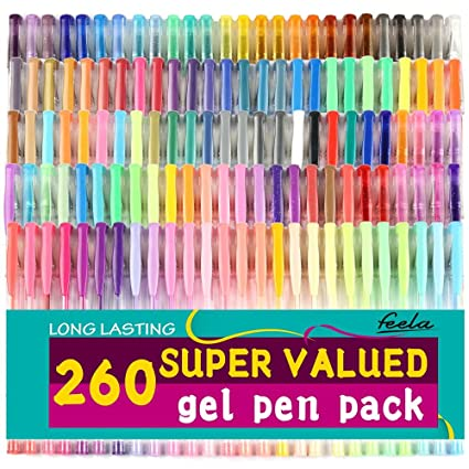 Plumas De Gel Feela 260 Colores Conjunto 70 Por Ciento Más De Tinta