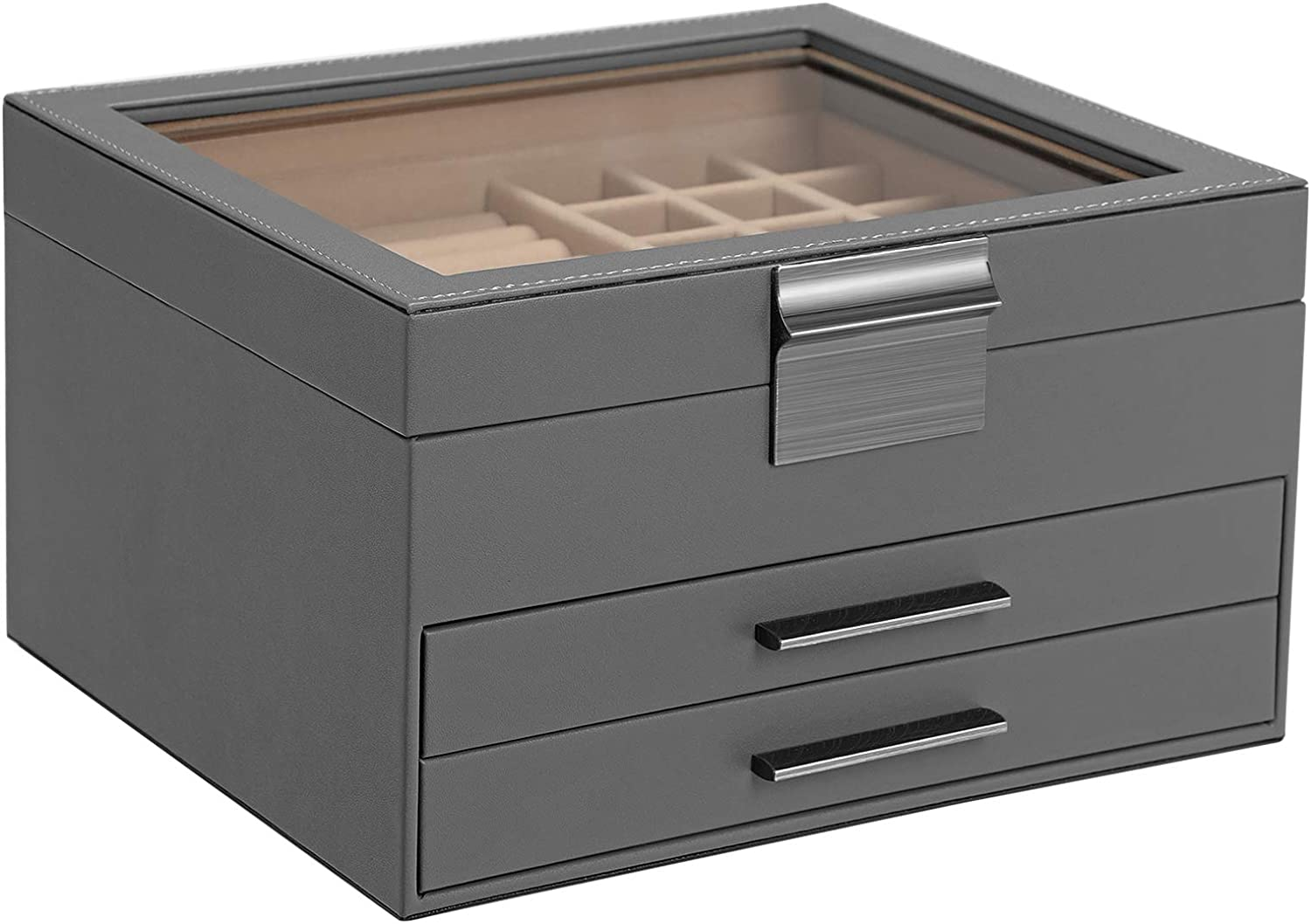 SONGMICS Jewelry Box with Glass Lid, 3-Layer Jewelry Organizer with 2 Drawers, Gift for Loved Ones, Gray UJBC239GY