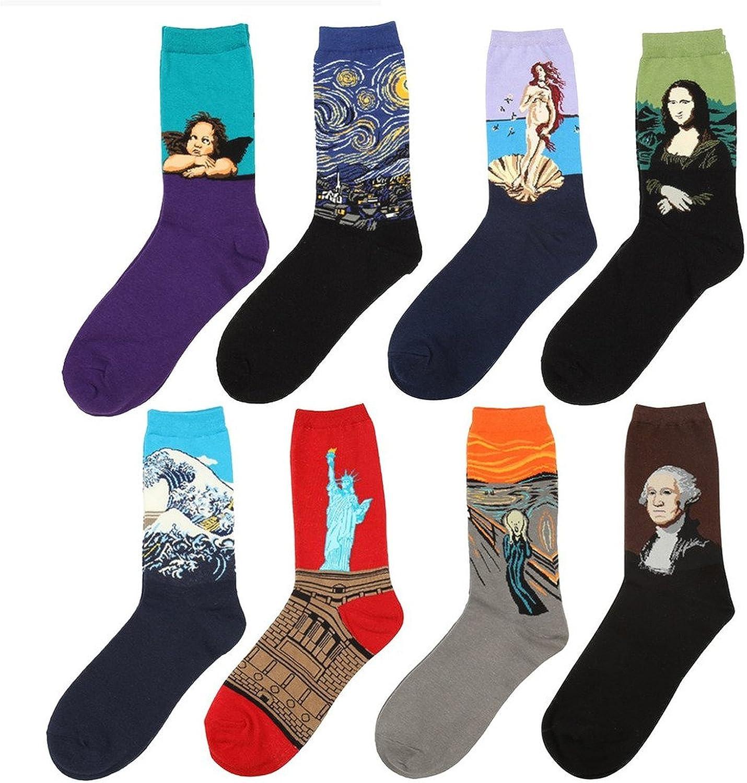 Paar Casual Cotton Crew Socken Animal Art Muster für Männer