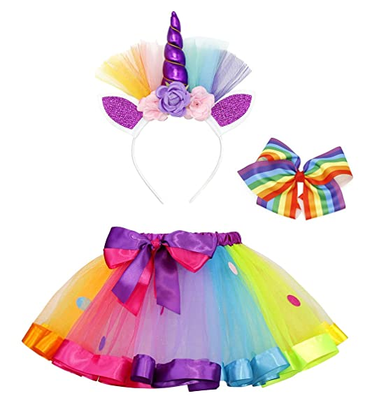 5371e00d6c22 AmzBarley Baby Girl Unicorn Rainbow Tutu Dress Skirt and Headband Bow Clip  Set