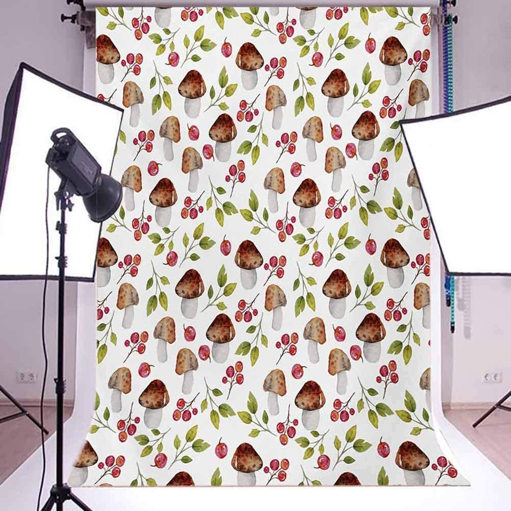 Mushroom 10x12 FT Photo Backdrops,Watercolor Art Pattern with Forest Elements Fungus Berry Branches Autumn Theme Background for Child Baby Shower Photo Vinyl Studio Prop Photobooth Photoshoot