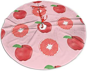 """JHSLAJ Summer Pink Apples and Grapefruits Pattern Tree Skirt for Xmas New Year Holiday Decorations Indoor Or Outdoor -36"""""""