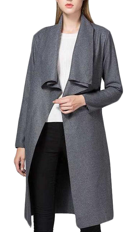 Unko Women Casual Long Sleeve Cardigan Trench Jacket Overcoat