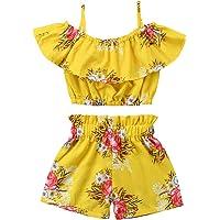 Niña Conjunto de 2 Piezas Ropa de Verano Traje Camiseta Floral de Tirantes sin Mangas y Pantalones Cortos de Cintura…