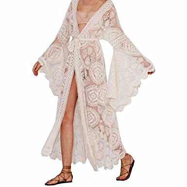 spyman Floral Print Bell Sleeve Lace Maxi wrap Summer Tunic Dress Bohemian Holiday Kimono Beach Dresses
