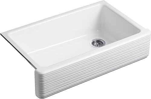 KOHLER K-6351-0 Whitehaven Hayridge Under Mount Single-Bowl Kitchen Sink with Tall Apron, White,36