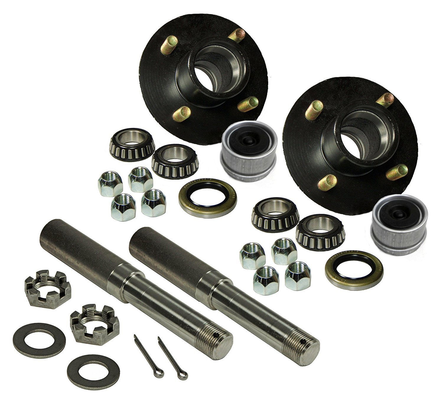 R and P Carriages Build Your Own Trailer Axle 4 x 4 Bolt Hub Assembly with 1'' Straight Round Spindles & Bearings by R and P Carriages