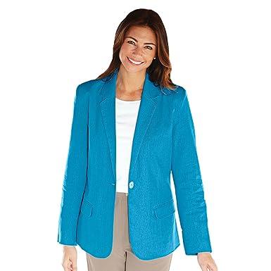 bbf6331fcdd2c Blair Women s Plus Size Linen-Blend Blazer - 26W Blue Lagoon at ...
