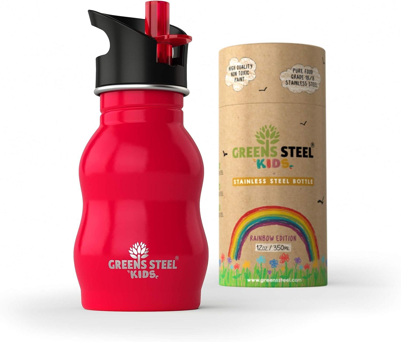Greens Steel Botella de Agua de niño - 350ml Botella a Prueba de Fugas Tapa con Pitillo - Bebe niños cantimplora de Acero para niños (Rojo)