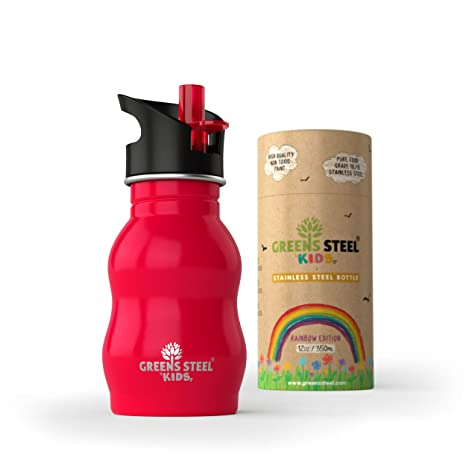 Botella de agua de niño - 350ml Botella a prueba de fugas Tapa con Pitillo - bebe niños cantimplora de acero para niños (rojo)