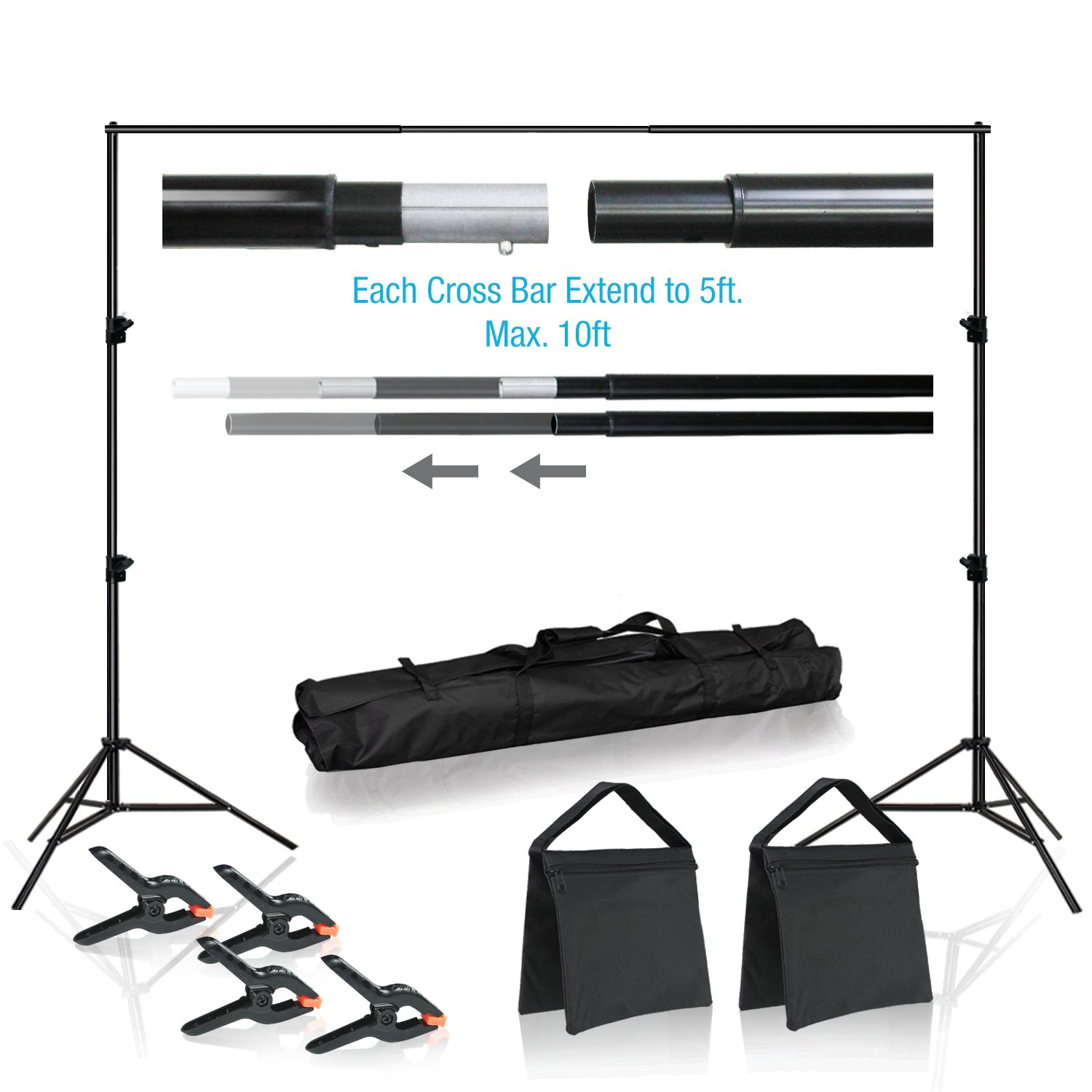 Lusana Studio 10 feet Wide Backdrop Support Stand Cross Bar Kit with Spring Clamp and Counter Weight Sand Bag for Stablizing Structure, Photo Video Studio Setting, LNA1018 by Lusana Studio
