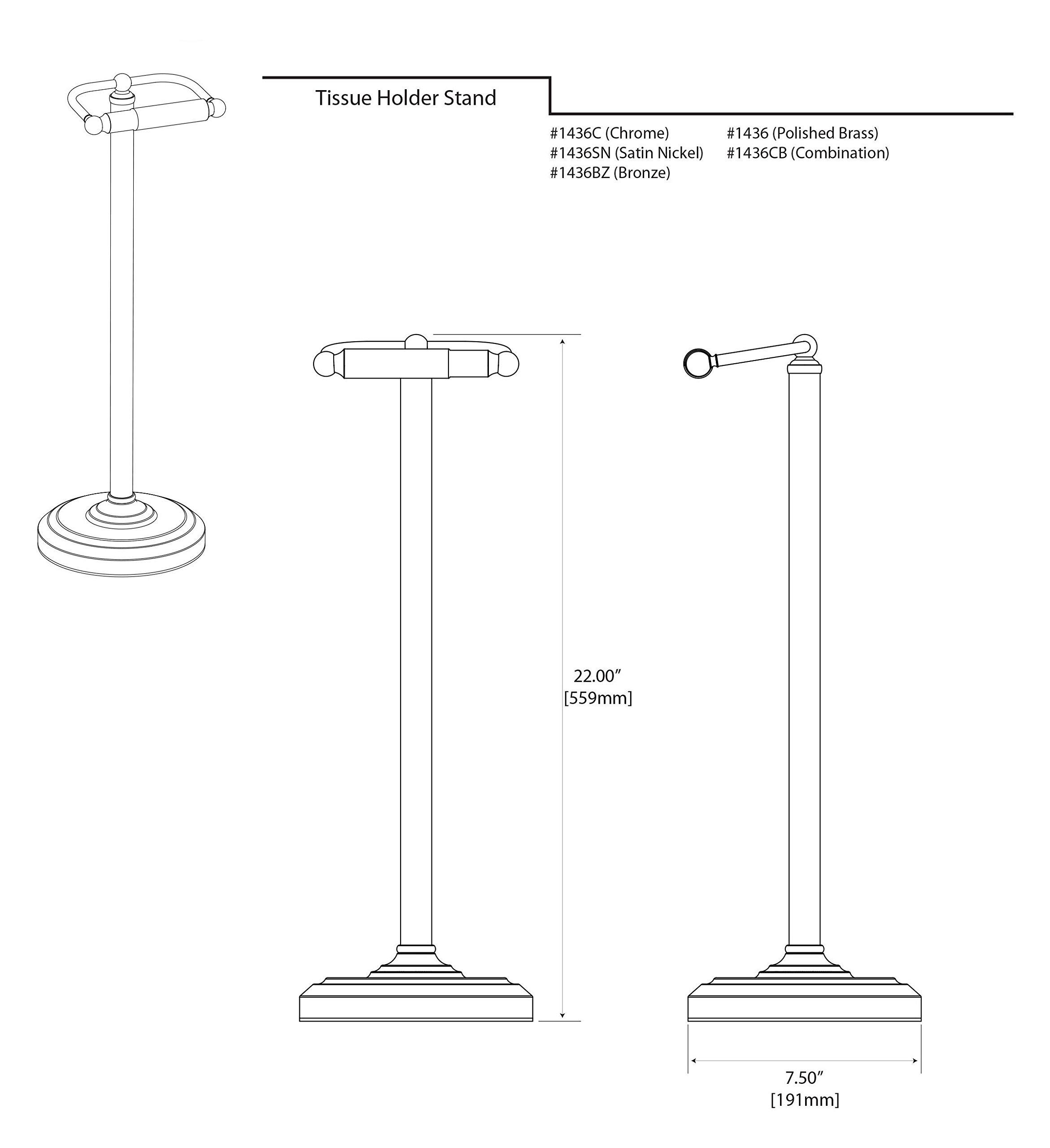 Gatco 1436 Pedestal Toilet Paper Holder, Polished Brass by Gatco (Image #5)