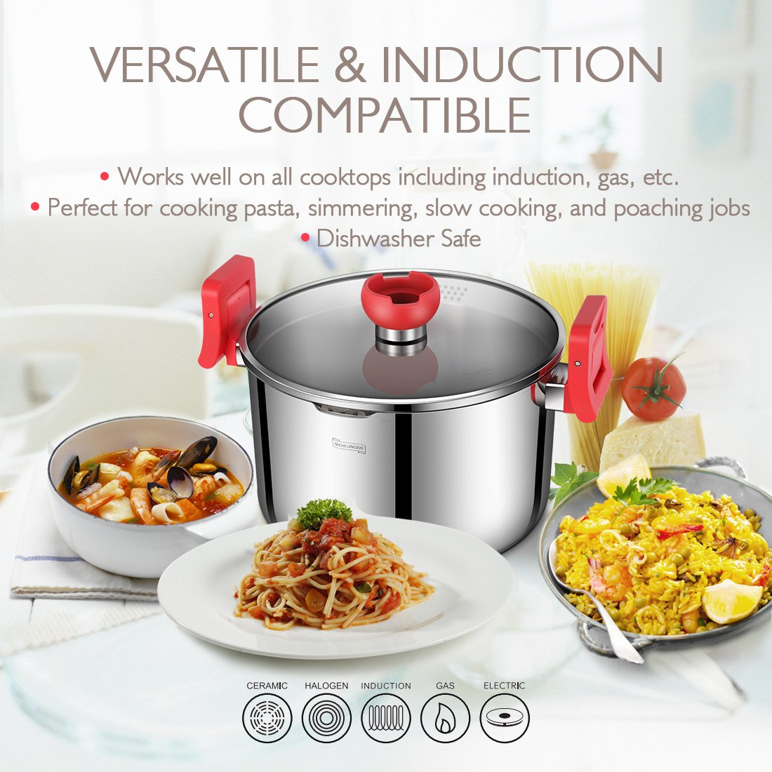 MICHELANGELO 5 Quart Pasta Pot Induction Ready, Stainless Steel Pasta Pot With Strainer Lid, Stainless Steel Dutch Oven Pot, 5 Quart Soup Pots with Lids by MICHELANGELO (Image #5)