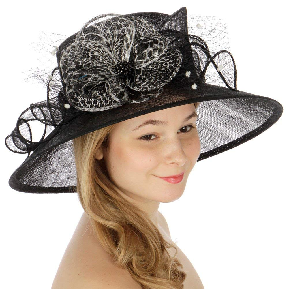 SERENTIA Animal Print w Flower Sinamay Hat Black at Amazon Women s Clothing  store  aae098300b42