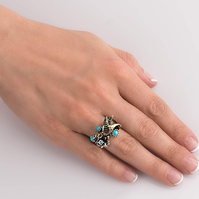 Sterling Silver Mixed Metal Sz 5 thru 10 Fritz Casuse Turquoise Blue Topaz Hummingbird Ring