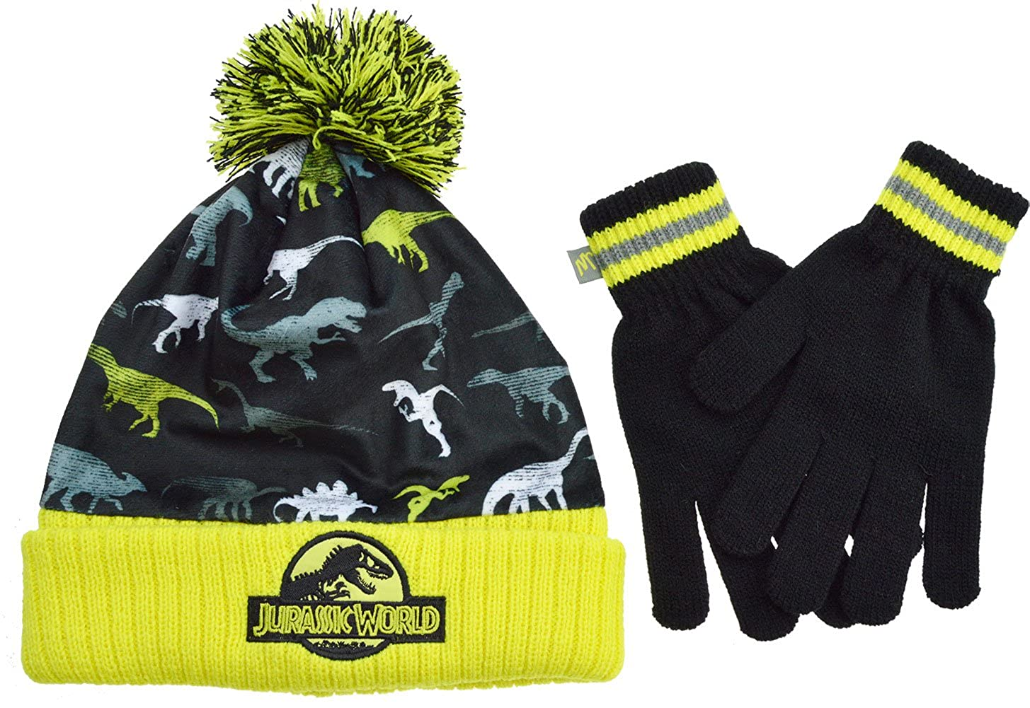 1ddb65410db72d Jurassic World Hat and Gloves Set Boys Winter Set Ages 6-14 Years[12+  Years][Black]: Amazon.co.uk: Clothing