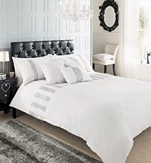 sequence lace sparkly duvet cover quilt cover bedding set 4 colours available white king
