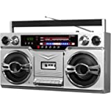 Victrola 1980s Retro Bluetooth Boombox with Cassette Player and AM/FM Radio, Wired and Wireless Streaming, Classic 80s…