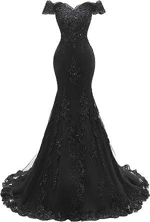 96035fe0794 Lily Wedding Womens Off Shoulder Mermaid Prom Dresses Long Lace Beaded  Evening Wedding Dress 2019 Black