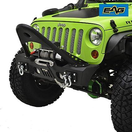 EAG 07 18 Jeep Wrangler JK Stubby Front Bumper With Stinger   OE Fog Light