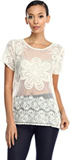 product image for Jubilee Couture Paula Embroidery Lace Pattern on Mesh Short Sleeve Blouse