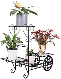 unho Iron Plant Stand 4 Tier Metal Garden Cart Flower Pot Display Rack Holding Small Plants, Succulents and Decors for Home Garden, Black