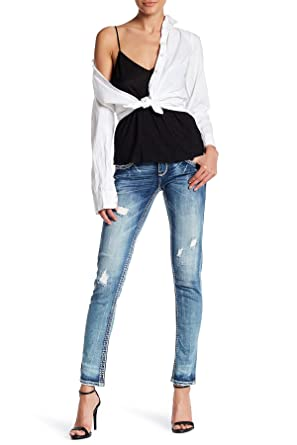 862931fcc2b549 Rock Revival Rhinestone Womens Charon Rip Skinny Jeans Denim at ...