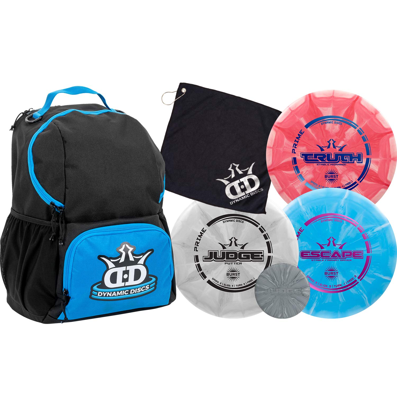 Dynamic Discs Disc Golf Starter Set | Blue/Black Cadet Disc Golf Bag Included | 17+ Disc Capacity | Prime Burst Disc Golf Frisbee Set Included | Putter, Midrange, Driver | 170g plus | Colors will vary by D·D DYNAMIC DISCS