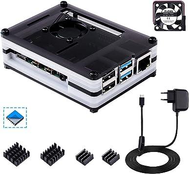 Bruphny Caja para Raspberry Pi 4 con Ventilador ,5V / 3A USB-C ...