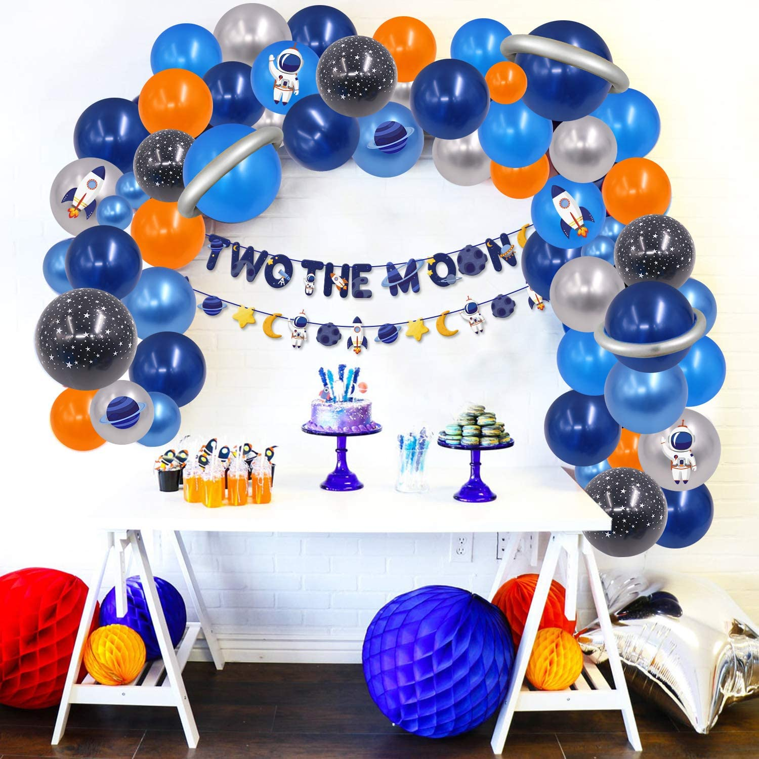 Two The Moon Banner Outer Space Garland Balloon Kids 2nd Birthday Party Astronaut Themed Party Decor for Boy Arch Backdrop Supplies
