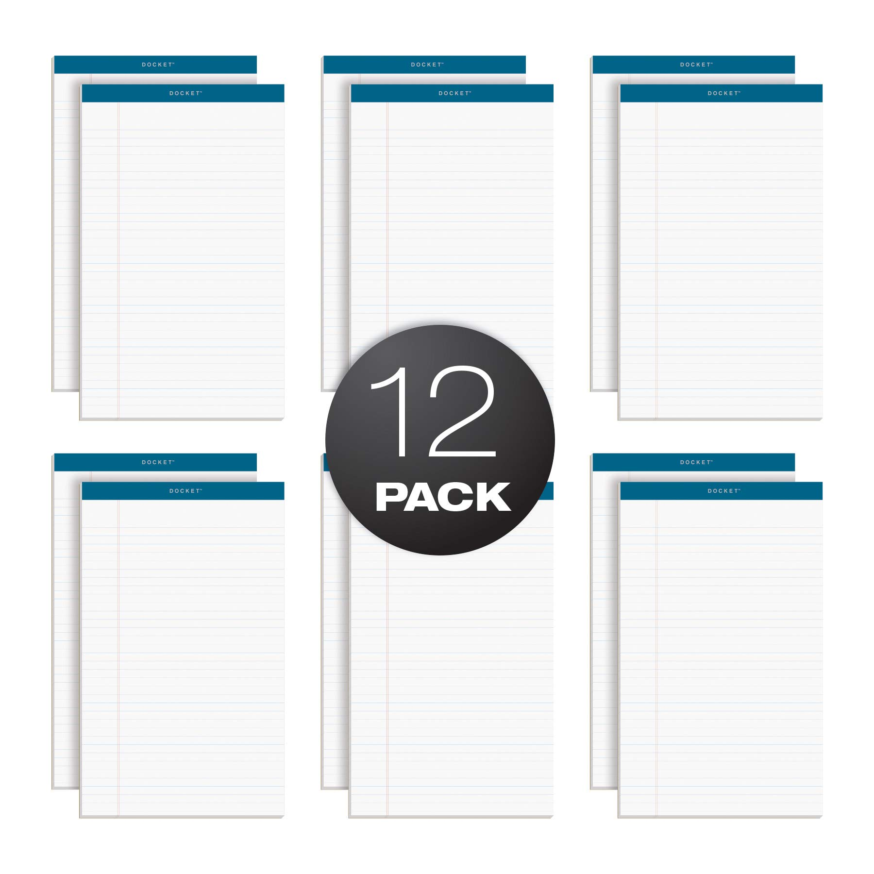 TOPS Docket Writing Pads, 8-1/2'' x 14'', Legal Rule, White Paper, 50 Sheets, 12 Pack (63590) by TOPS