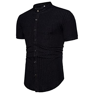 60cb090e4b Stephomcook Men Striped Solid Cotton Short Sleeve Shirt Summer Male Casual  Single Breasted Shirt Men Hip