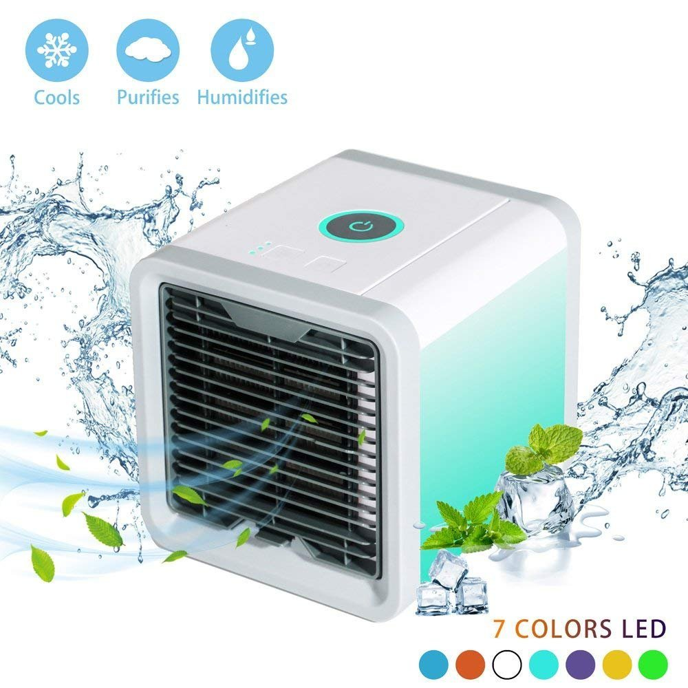Personal Air Cooler Fan, Portable Air Conditioner, Humidifier, Purifier 3 in 1 Evaporative Cooler, Mini AC USB Cooling Desktop Fan...