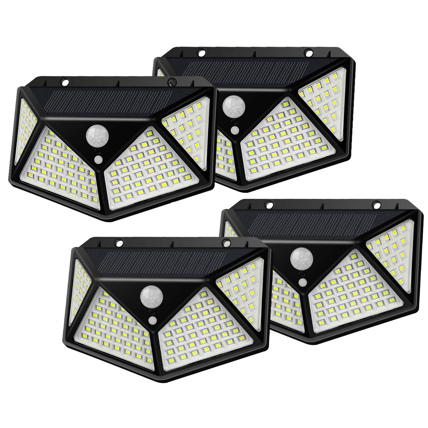 Solar Lights, 2019 New Security Wall Light with 100 LEDs, 270°Wider Angle, 120°& 17Ft RIP Motion Sensor Light, IP65 Waterproof & Dustproof, 3 Working Mode for Front Door, Garage, Patio,Pack of 4