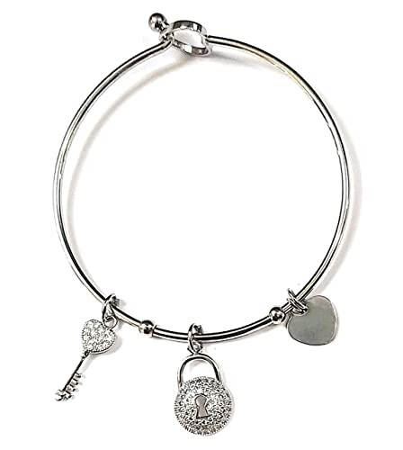 0584e4cee0 Bracciale donna in acciaio con pendolo catenaccio lucchetto chiave. Made in  Italy. bracciale in